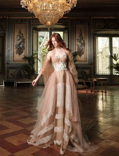 """Modern silhouettes, a grandiose backdrop and the use of Victorian-esque hoop skirts classify Yolan Cris 2017 """"Couture Bride"""" collection as an ode to..."""