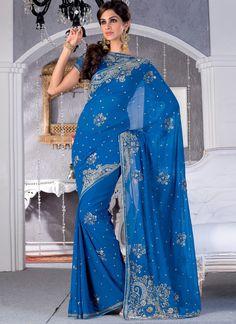 Beautiful blue Sari