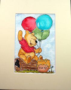 Winnie the Pooh Original Watercolor Painting by McKinneyx2Designs