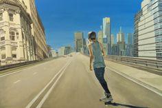 "Saatchi Online Artist: Matthew Carter; Oil, Painting ""Expressway Skater"""