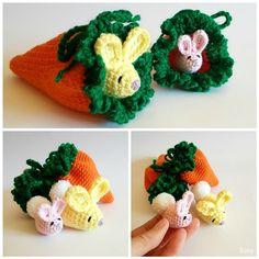 Amigurumi Easter Bunny + Carrot Pouch by SuniMam.deviantart.com on @DeviantArt