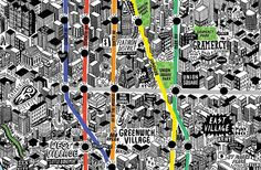 Absolutely beautiful map of NYC drawn by illustrator Jenni Sparks.