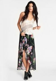 Want - Floral High Low Skirt