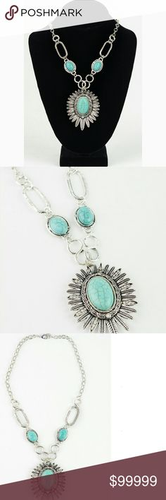 🆕 DAISY TURQUOISE NECKLACE SUPER CUTE ADJUSTABLE  TURQUOISE  DAISY  CHAIN  NECKLACE.  LOBSTER CLASP CLOSURE.  ***ARRIVING SOON *** BOTIQUE  Jewelry Necklaces