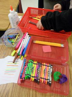 Decluttering the Pencil Box-Can use for following directions, categorizing-Pinned by SOS Inc. Resources.  Follow all our boards at http://pinterest.com/sostherapy  for therapy resources.