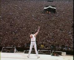 At Wembley Stadium watching Queen perform at Live Aide while 1.5 billion people around the world watched live on their TV sets....