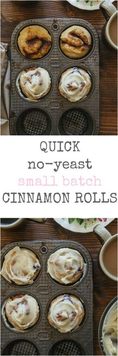 A small batch of easy cinnamon rolls. No yeast required! Makes 4 delicious rolls! A small batch of easy cinnamon rolls. No yeast required! Köstliche Desserts, Delicious Desserts, Dessert Recipes, Yummy Food, Easter Desserts, Dessert Cups, Dessert Blog, Apple Desserts, Quick Cinnamon Rolls