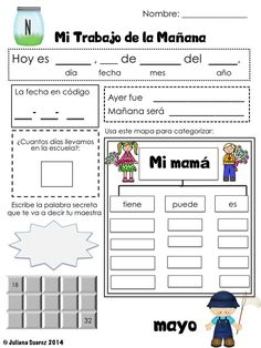 Morning work in Spanish! •Mother's Day  •Teacher appreciation writing activities  •End of the year poems  •Thinking maps (introducing brace maps)  •Ten frame activities  •High-frequency words •Memorial Day