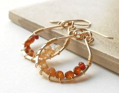 Wire Wrapped Gold Gemstone Hoop Earrings with by dianedesign, $43.00