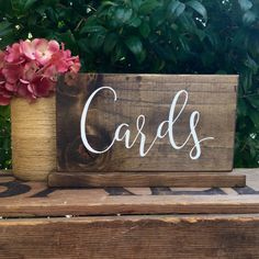 CaRdS SiGn - PHoTo PRoP SiGn - Calligraphy Lettering - DiReCTioNaL Wedding SiGnS - RuSTic WeDDing SiGn - Dark Stain 15 x 7