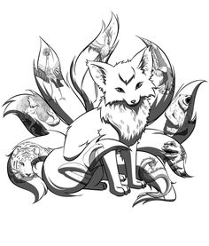 "Kitsune tattoo ""nine fox tattoos""的图片搜索结果 Fantasy Creatures, Mythical Creatures, Anime Tattoos, Fox Tattoos, Tree Tattoos, Deer Tattoo, Raven Tattoo, Tattoo Ink, Arm Tattoo"