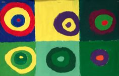 Inspired by Kandinsky, we incorporated a little color theory into our emulation of Squares with Concentric Circles. Can you correctly identify each color scheme?: Primary, Secondary, Tertiary, Analogous, Monochromatic, Complementary. [Love this idea. Save for a the end of our color unit.]