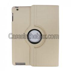 360 Rotation Bracket Board Holder Faux Leather Folio Protective Case for iPad 2 - White US$15.99