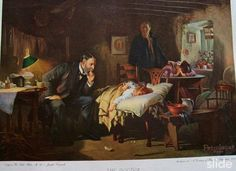 Sir Luke Fildes's painting (1891) was inspired by the death of his son and the professional devotion of Dr Gustavus Murray who treated him. But this work shows the moment when a child shows the first sign of recovery. The redeeming light of dawn is shining on the child.In order to make the picture convincing Fildes constructed a cottage interior in his studio. He began work at dawn each day to catch the exact light conditions. The image of an ordinary doctor's quiet heroism was a huge…