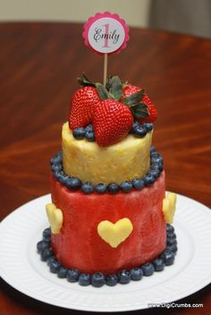 How To Make a Layered Watermelon Fruit Cake with Hearts - This would be great for Valentines Day too!