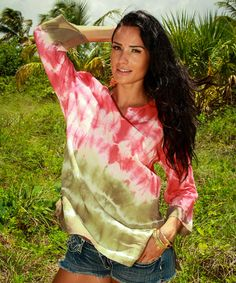 Another great find on #zulily! Coral & Lime Tie-Dye Top by La Moda Clothing #zulilyfinds