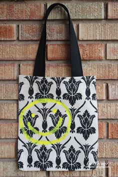 Sherlock Week: Damask Wallpaper Smiley Face Tote Bag!  Free printable file too!