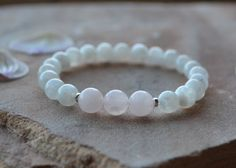 Moonstone and Rose Quartz Fertility Bracelet, Love, Fertility, Natural Gemstones, Yoga Jewelry, Zen, Wrist Mala, Minimalist, Feminine, Yoga