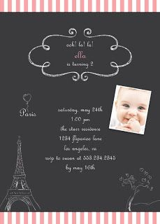 Paris Birthday Or Shower Invitation  Chalkboard Style With Doodle