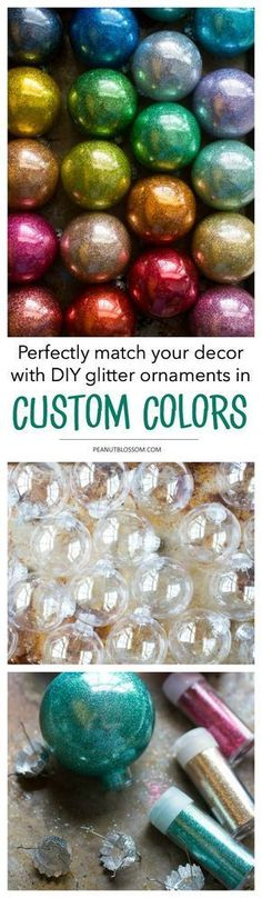 4-step easy DIY rainbow glitter ornaments for Christmas. Mix and match a custom color combination to go with your living room decor this season. So many colors to choose from! #christmasornaments #DIYChristmas #Christmascrafts