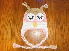 Little Owl Cochet Hat all sizes boy or by BridgetsBabyBoutique, $15.00