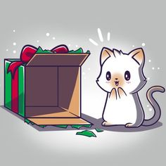 Best Present Ever T-Shirt TeeTurtle gray t-shirt with an excited white cat looking at an empty Christmas present box as if he is excited to climb into it Cute Cat Drawing, Cute Animal Drawings, Kawaii Drawings, Cute Drawings, Drawing Cartoon Characters, Cartoon Drawings, Anime Animals, Cute Animals, Gato Anime