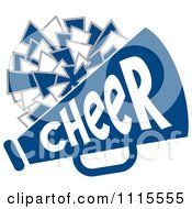 Clipart Cheerleader Pom Pom And Megaphone In Blue Tones Royalty Free Vector Illustration