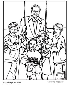 george w bush us president coloring pages