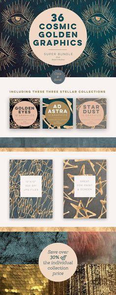 36 Cosmic Golds & Textures by Blixa 6 Studios on @creativemarket