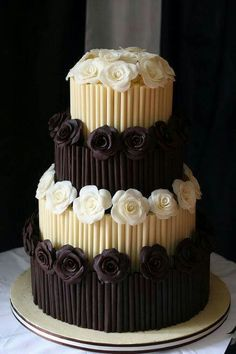 Cigarillo white and dark chocolate cake