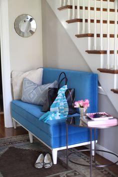 #entryway, #love-seat, #settee, #blue, #velvet, #hallway
