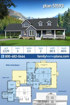 Country, Farmhouse, Southern House Plan 51593 with 3 Beds, 3 Baths, 2 Car Garage 2200 Sq Ft House Plans, One Level House Plans, Two Story House Plans, New House Plans, Dream House Plans, House Floor Plans, Southern House Plans, Country House Plans, Country Life