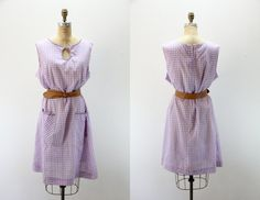 PLUS SIZE Vintage Dress XXXL Purple and  White Gingham $44.00 by SIZEisJUSTaNUMBER