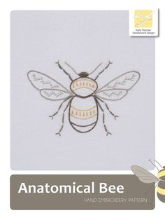 Anatomical Bee hand embroidery pattern by KFNeedleworkDesign