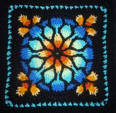 Stained Glass Crochet Blanket Square