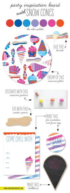 Snow Cone Birthday Party Inspiration Board (the invite and favor tags are a free printable)