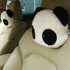 2Pcs Car Accessories Small Cute Panda Car Cushion Pillows Neck Pillow Headrest  #Unbranded