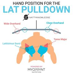 Hand Position Lat Pulldown   The saying: Wider grip, Wider Lats has led to m… Gym Tips, Gym Workout Tips, At Home Workouts, Cardio Gym, Fitness Nutrition, Fitness Tips, Yoga Fitness, Fitness Outfits, Fitness Women