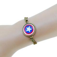 Super Hero Captain America Bracelet Glass Dome Leather Charm Fashion Jewelry