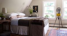 Frank Muytjens's Master Bedroom via Elle Decor. Walls painted BM Edgecomb Gray