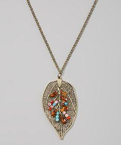 Beaded Gold Leaf Necklace