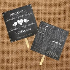 Chalkboard Wedding Fan Program Printable by SavvyDeetsDesigns, $25.00