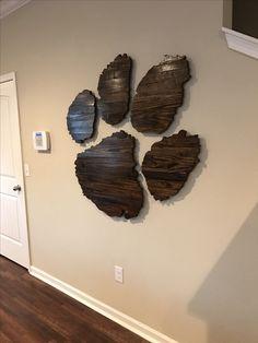 Tiger paw Clemson wood wall art paw print cut out decor CU by Trey Daniel