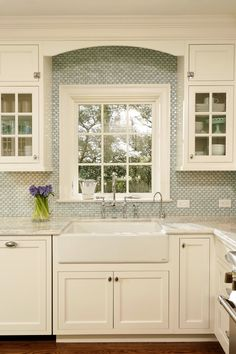 House of Turquoise: Virginia Kitchens + Harry Braswell Inc.  Farm sink and this amazing tile - yes, yes yes please!