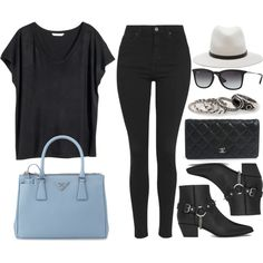 Style #9038 by vany-alvarado on Polyvore featuring polyvore fashion style H&M Topshop Yves Saint Laurent Prada Chanel MANGO rag & bone Ray-Ban