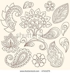 Henna Mehndi Flowers and Paisley Vector. Hand-Drawn Abstract Henna Mehndi Flower… Henna Mehndi Flowers and Paisley Vector. Paisley Doodle, Henna Doodle, Tatoo Henna, Paisley Art, Henna Art, Paisley Design, Paisley Pattern, Doodle Art, Henna Mehndi