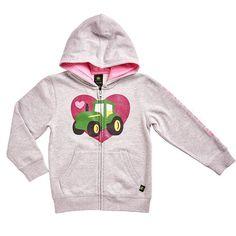 Girls 4-6x John Deere Glitter Heart Tractor Fleece-Lined Hoodie, Girl's, Size: