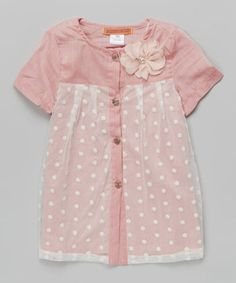 Pink Lace Overlay Button-Up Tunic - Toddler & Girls by Funkyberry #zulily #zulilyfinds
