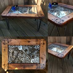 Metal & Wood Coffee Table. Various wrenches, nuts, washers, pipe threaders and gears framed in an industrial dolly on fabricated flat stock legs.