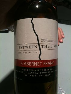 Between The Lines Winery. Cab Franc. Niagara-On-The-Lake, Ontario, Canada.